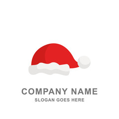 Christmas Santa Claus Hat Red Color Icon Logo Vector