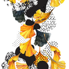 Poster de jardin Empreintes Graphiques Drawing of ginkgo leaves, ink doodle, grunge, water color paper textures.