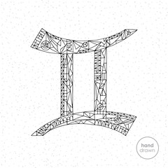 Gemini zodiac sign. Vector hand drawn horoscope illustration. Astrological coloring page.