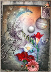 Foto op Canvas Imagination Collage surreale con luna stellata,fiocchi di neve,farfalle e fiori tropicali