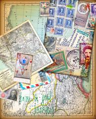 Printed kitchen splashbacks Imagination Sfondo vintage con vecchie mappe,carte,francobolli e itinerari di viaggio