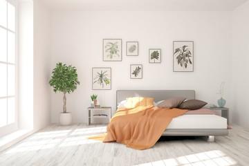 Idea of white minimalist bedroom. Scandinavian interior design. 3D illustration