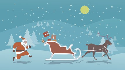 Landscape with church and buildings and Santa Claus Illustration of Santa sleigh and reindeer , vector draw