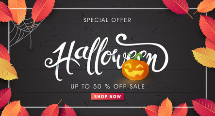Happy Halloween calligraphy for sale background layout. banners party invitation.Vector illustration.