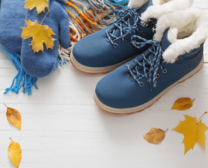 blue winter shoes and gloves on white wooden background