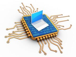 3d golden computer processor