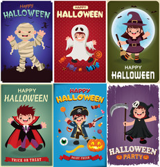 Vintage Halloween poster design with vector vampire, mummy, ghost, witch, reaper, pirate characters.