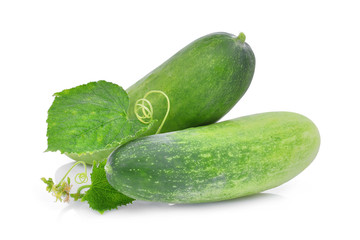 two fresh cucumber with green leaves isolated on white background
