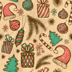 Merry Christmas seamless pattern with sketched elements