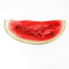 Flat lay. Top view. Pop art. Minimalist art. Fashion Glamorous. Slice of watermelon over white background