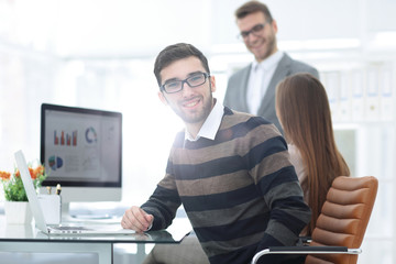 businessman working with marketing diagrams