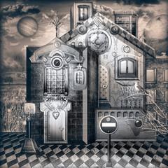 Fototapeten Phantasie Casa stregata. Notturno con bizzarre casette di periferia