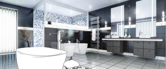Luxurious Bathroom in Project (panoramic)