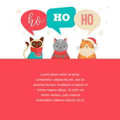 1752716 Merry Christmas greeting card, poster with cute cats characters, vector collection