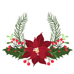 Floral round frame for Christmas and New Year holiday cards with poinsettia flowers and berries. Vector Illustration, isolated on white background.