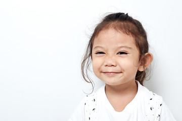 Portrait beautiful of happy long hair child little girl asian