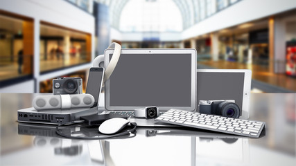 collection of consumer electronics 3D render on sale background