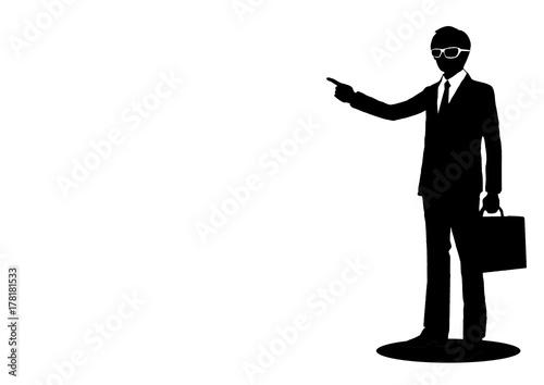 指差しビジネスマンシルエットfotoliacom の ストック写真と