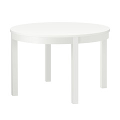 White blank round table mockup isolated. Vector illustration