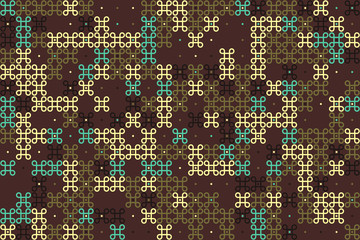 Geometric abstract seamless pattern of colored shapes