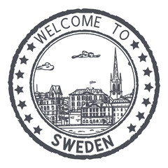 Welcome to Sweden. Black postal stamp, round postmark with Stockholm sightseeings
