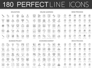 180 modern thin line icons set of education, online learning, mind process, business project, economics market, brain process.