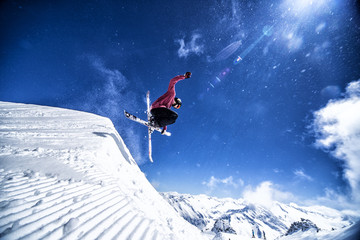 Expert skier showing freestyle trick