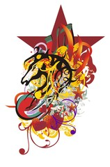 Grunge stylized horse head splashes. Ornate horse head with red hearts, colorful floral elements, linear patterns against the background of a huge dark red star
