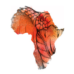 Ethnic hand drawing head of  King Cobra in the vector map of Africa. Vector illustration. Abstract Background with Watercolor Stains