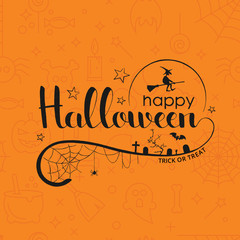 Happy Halloween handwritten lettering over seamless background