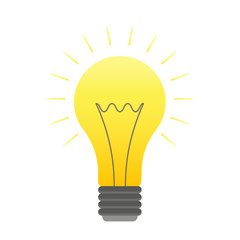 Vector color lightbulb icon, bright cartoon bulb. Orange lightbulb with lights logotype, idea symbol