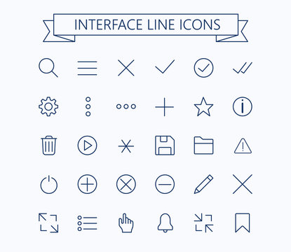 User interface line mini  icons .Editable stroke. 24 px