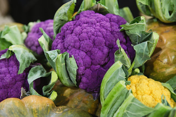 Purple, Green, Orange Cauliflower at the farmers market