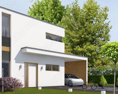 Haus Kubus 1 Am Tag Mit Carport Und Elektroauto Stock Photo And