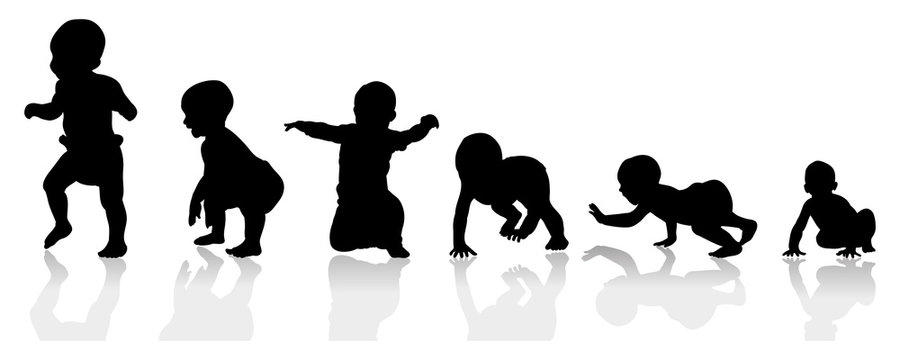 baby growing steps illustration from crawling to walking