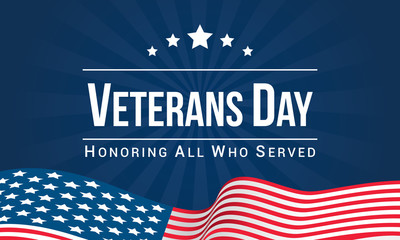 Veterans Day Vector illustration, Honoring all who served, USA flag waving on blue background. Wall mural