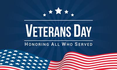 Veterans Day Vector illustration, Honoring all who served, USA flag waving on blue background. Fotoväggar