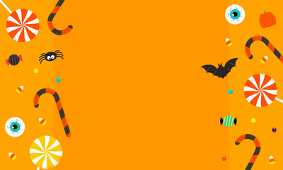 Happy Halloween Background vector illustration. Halloween candy on orange background.