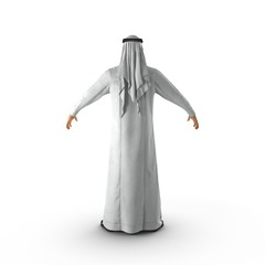 Arabic man standing on white. Rear view. 3D illustration