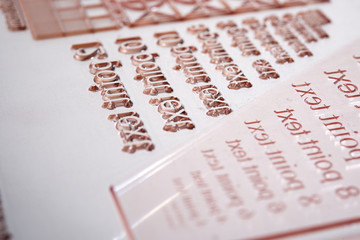 Close up of a flexographic printing plate.