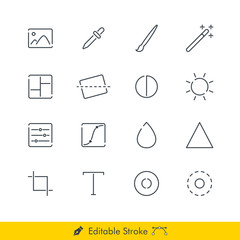Photography (Image Editing) Related Icons / Vectors Set - In Line / Stroke Design with Editable Stroke