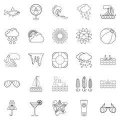 Island life icons set, outline style