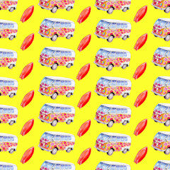 Watercolor seamless pattern with surfboard and campervan on yellow  background, bright hand-drawn summer  background.