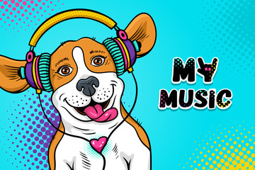 Wow pop art dog face. Funny happy surprised dog beagle with open mouth with tongue in colorful headphones  listening to the music. Vector illustration in cartoon comic style. Party invitation poster.