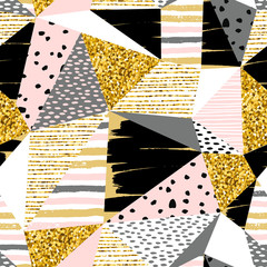 Abstract geometric seamless with pattern gold glitter elements.