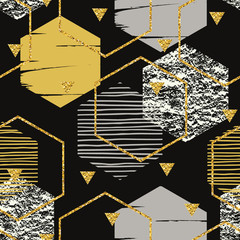 Abstract geometric seamless repeat pattern with hexagons.