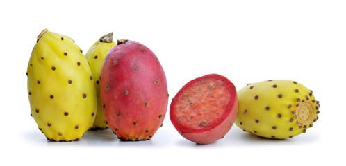 Cactus fruit or Opuntia isolated on white background.