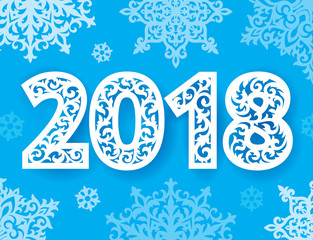 New 2018 year numbers ornate for laser cutting with pattern of snowflakes. Cutout paperwork. Laser cut plastic or wood panel.