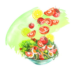 A plate of vegetable salad, tomatoes, greens, cucumbers, onions, olives, eggs, dill, parsley, cherry tomatoes. Handmade drawing on white isolated background. Splash, spray green paint.
