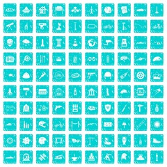 100 helmet icons set grunge blue